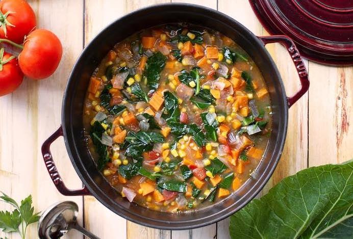 Collard greens stew with corn & sweet potatoes2