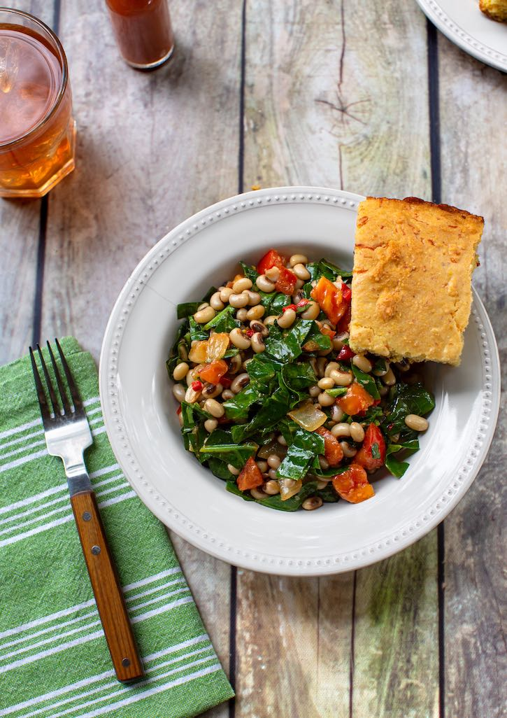Spicy Collard greens with black-eyed peas