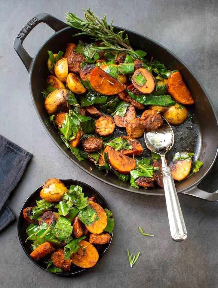 Collard greens with potatoes & vegan sausage1