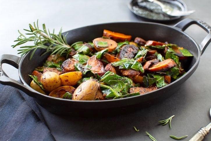Potatoes with Collard greens & vegan sausage