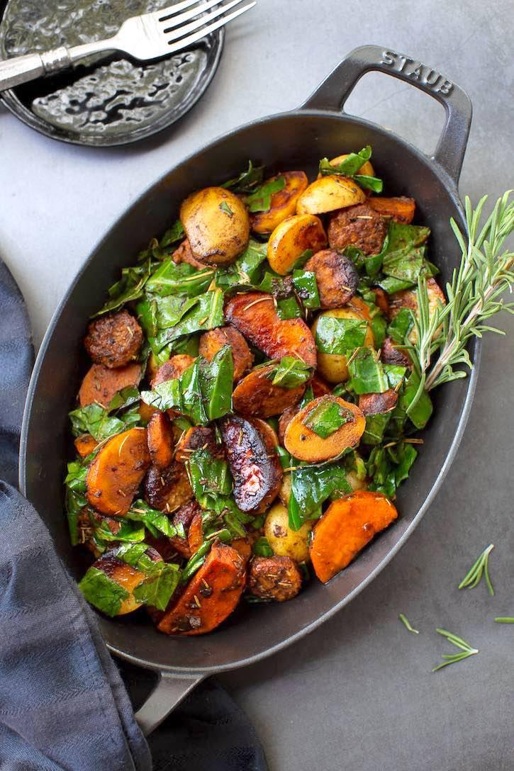 Rosemary Potatoes and Collard greens with vegan sausage