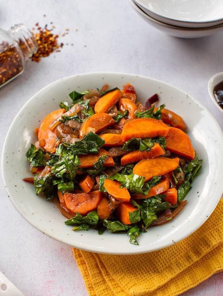 Hoisin Sweet potatoes with collard greens1