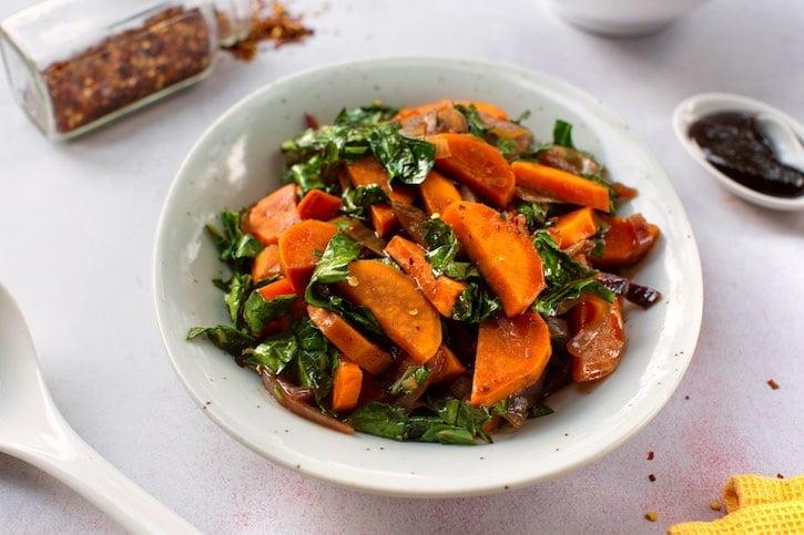 Hoisin Sweet potatoes with collard greens