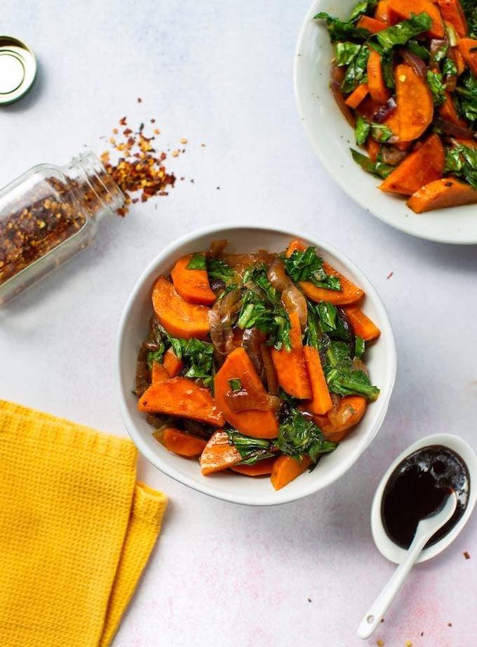 Hoisin Collard greens with Sweet potatoes