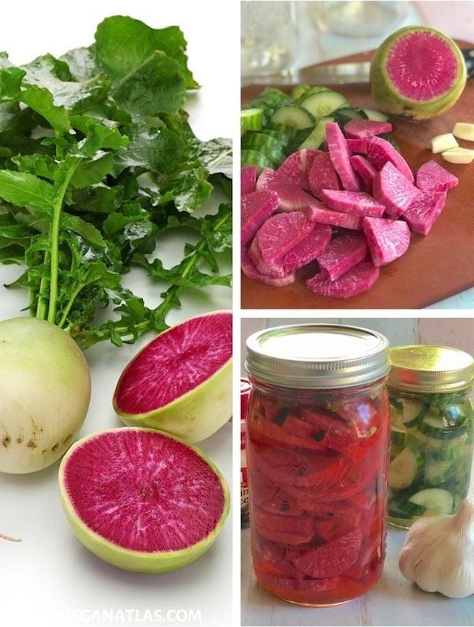 Watermelon radish pickles