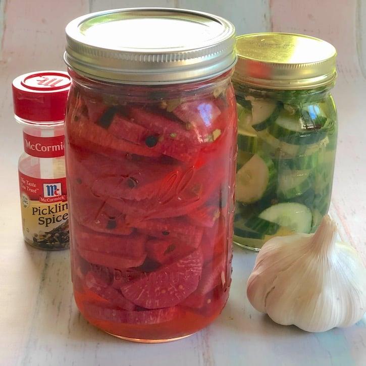 Watermelon radish pickles in a jar