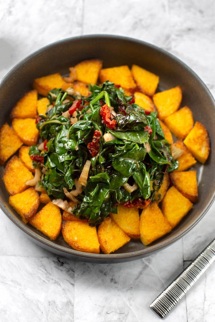 Chard and spinach with Pan-Sautéed Polenta
