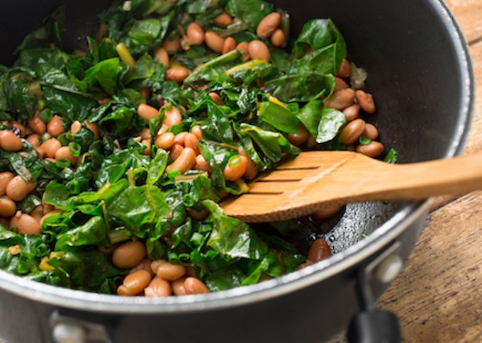 Greens with pinto beans