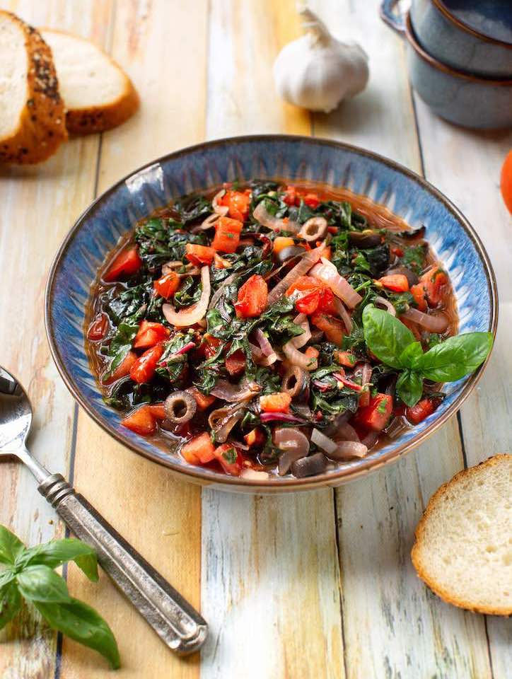Italian Chard with Tomatoes and basil