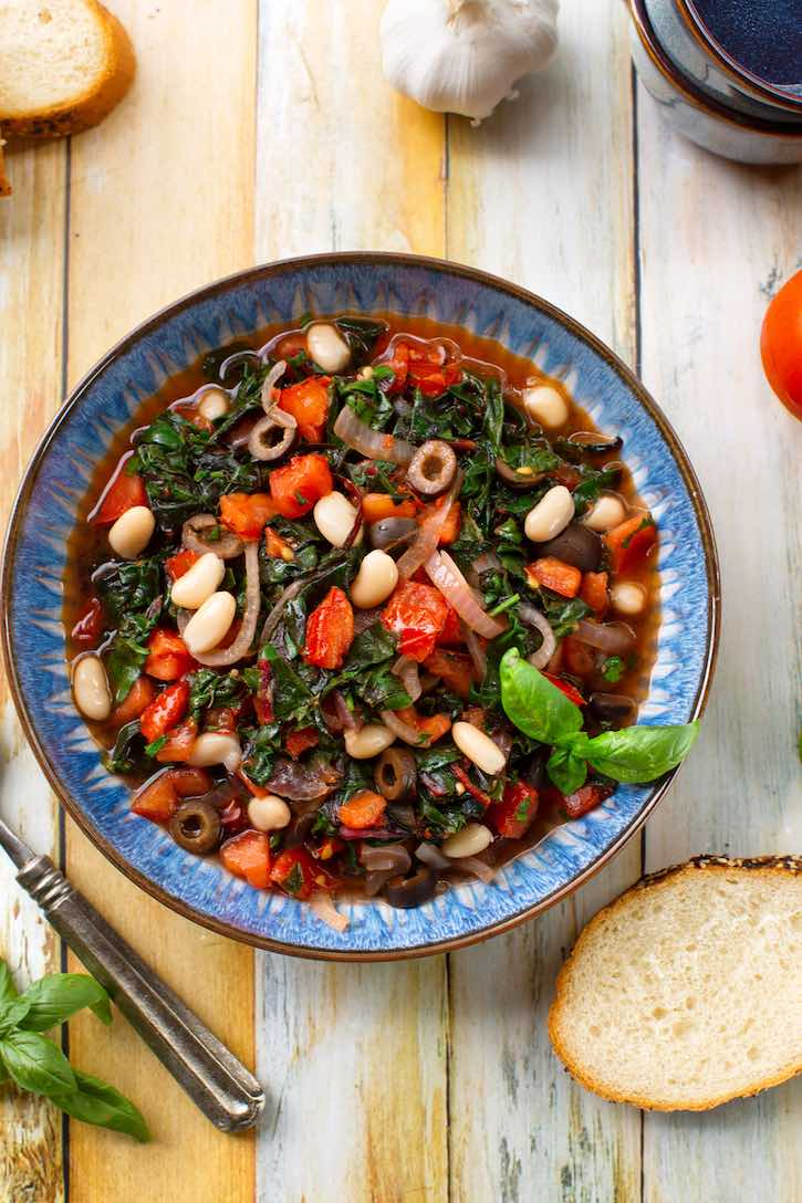 Italian-style Chard with Tomatoes and cannellini beans