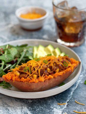 Quick Vegan Chili-Stuffed Sweet Potatoes1