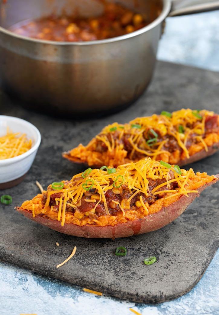 Easy Vegan Chili -Stuffed Sweet Potatoes2