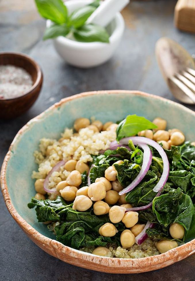 Quinoa bowls with chard and chickpeas