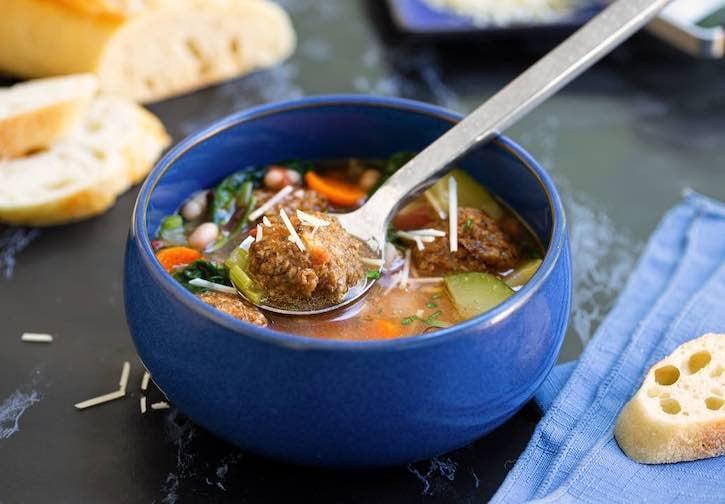 Vegan Italian Wedding Soup with plant-based meatballs
