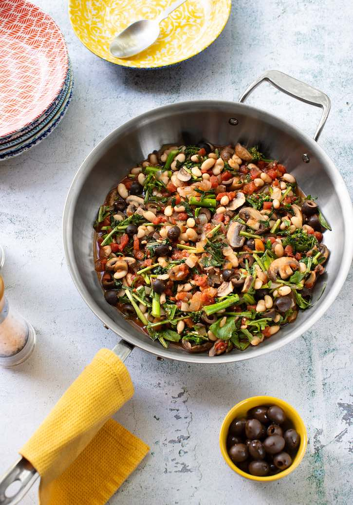 Skillet Broccoli Rabe with White Beans & Mushrooms