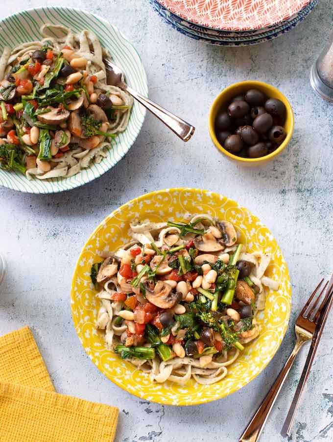 Broccoli Rabe with White Beans & Mushrooms