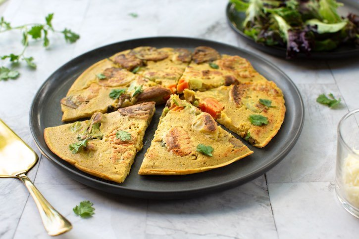 Chickpea Flour Frittata - vegan, with fresh vegetables