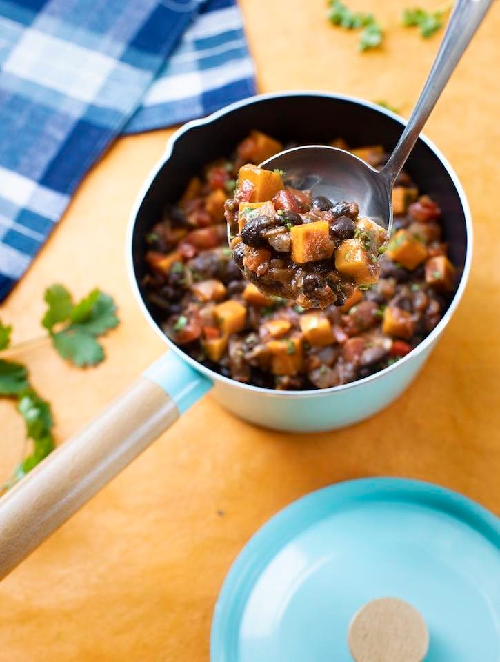 Quick Black Bean and Sweet Potato Chili in the soup pot
