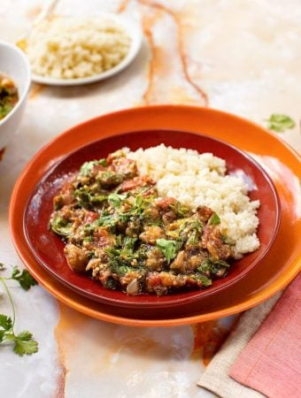 Roasted Eggplant Curry with Mustard Greens