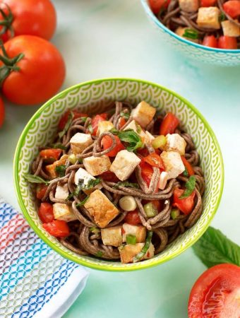Soba with Tofu, Tomatoes, and basil