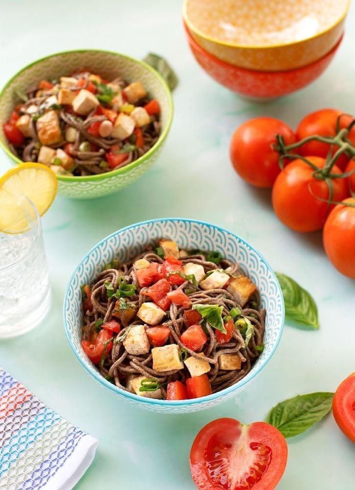 Soba with tofu, basil, and tomatoes