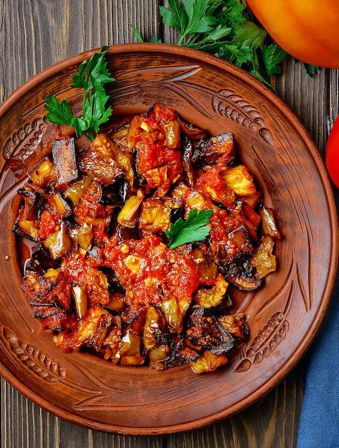 Turkish Eggplant Stew with Fresh Tomatoes