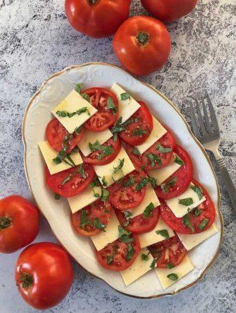 Vegan Caprese salad (tomato, basil, & plant-based mozzarella)
