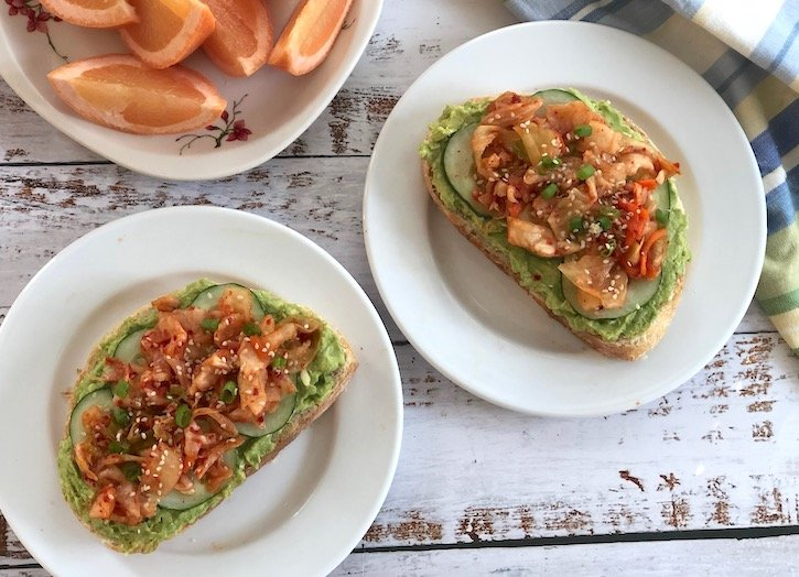 Cucumber and Kimchi Avocado Toast