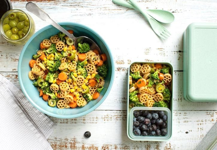 Vegan Lunch box pasta salad with a GF option