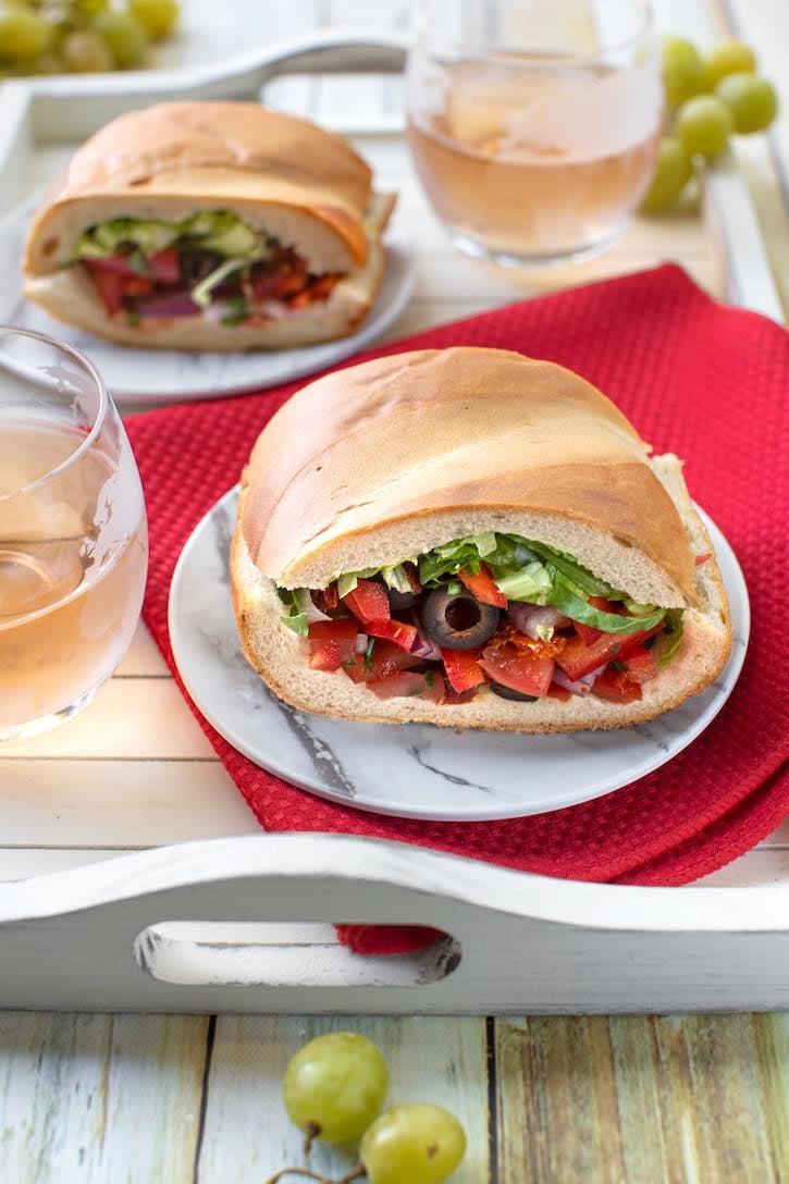 Salad-stuffed Italian bread - Mediterranean Pan Bagnat