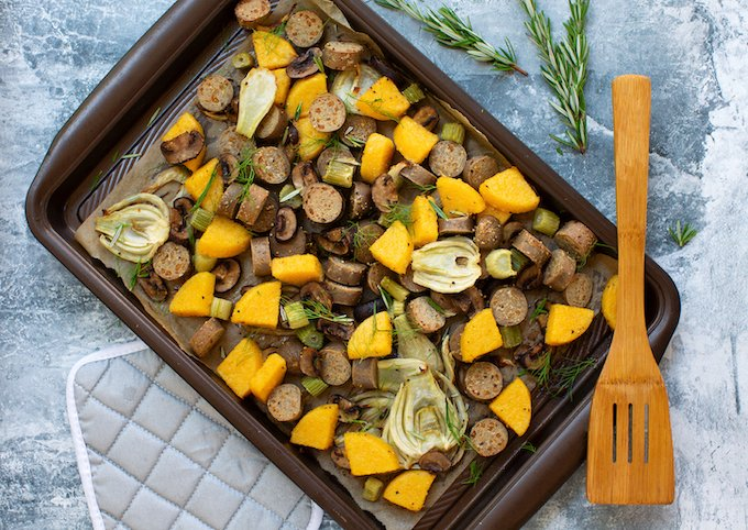Roasted Vegan Sausage with Fennel and Polenta