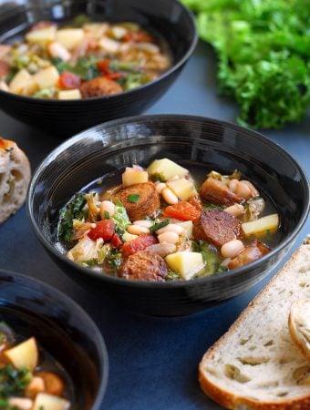 Vegan Sausage, Potato, & Escarole Soup