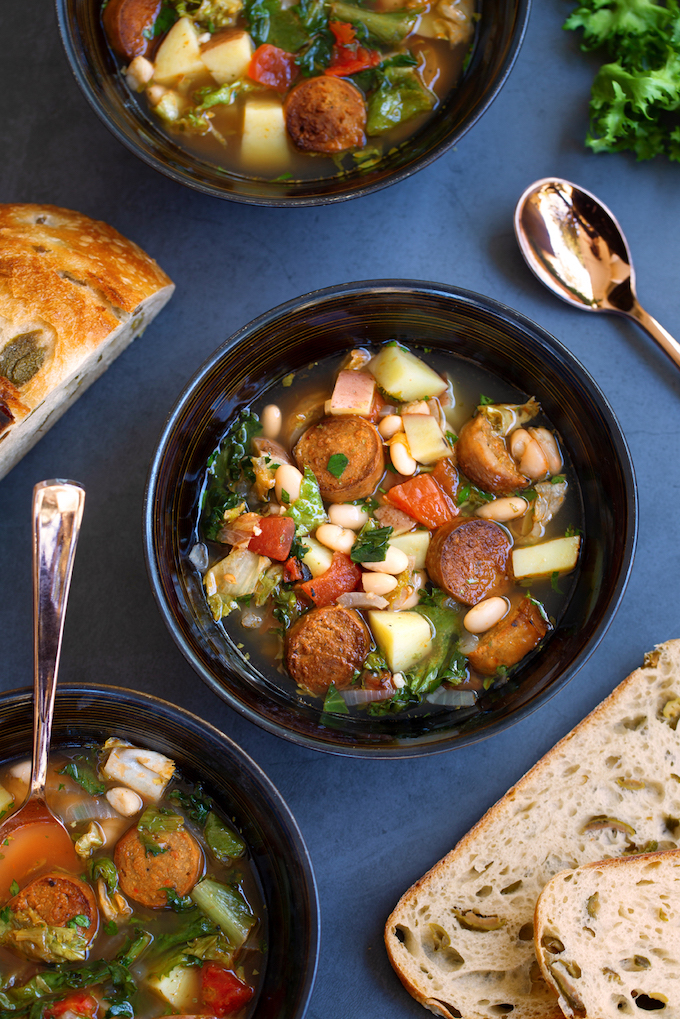 Potato and Escarole Soup with Vegan Sausage