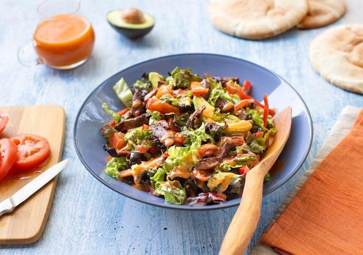 "Hearty seitan salad (with plant-based ""steak"" option"
