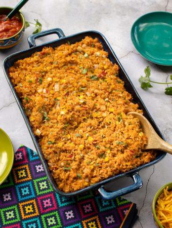 Southwestern cheesy vegan rice casserole