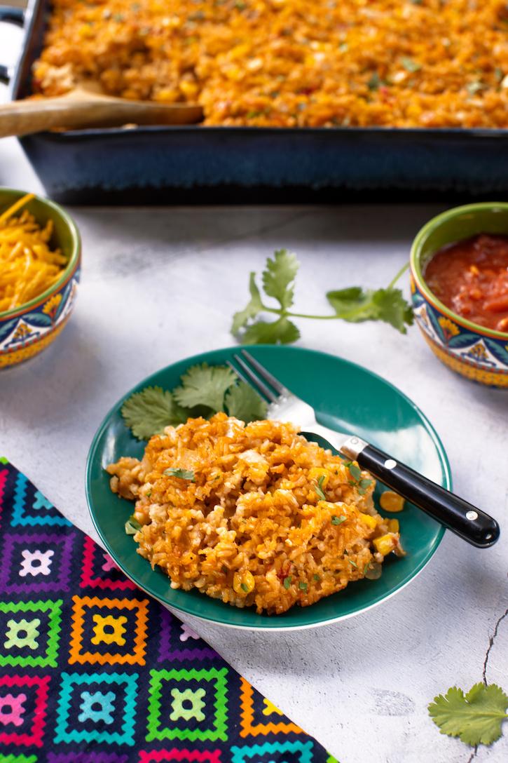 Southwestern cheesy rice casserole vegan