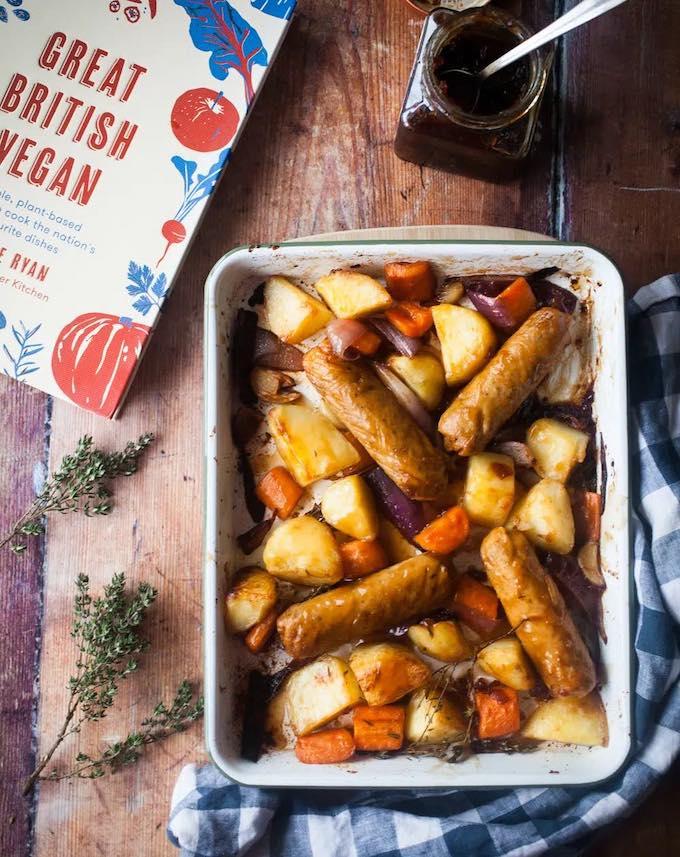 Sticky-Vegan-Sausage-Potato-Traybake