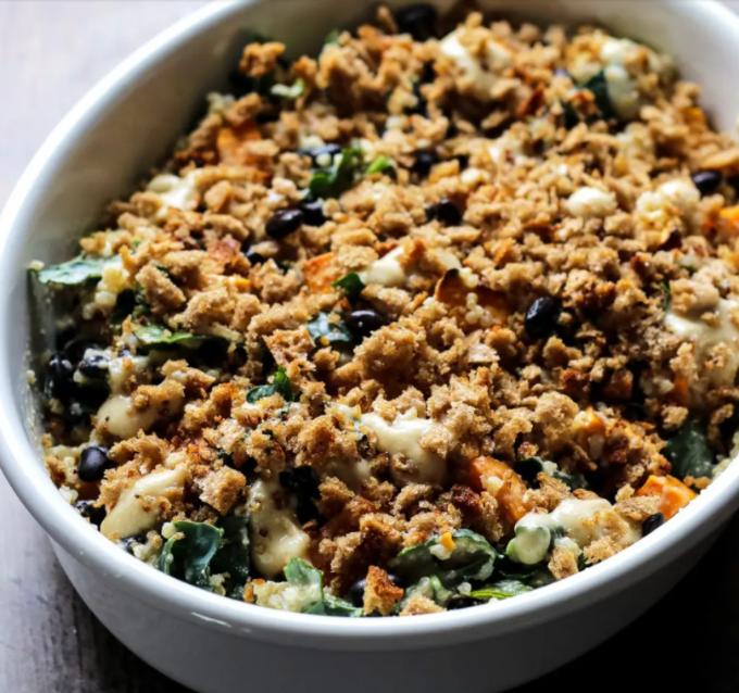 Sweet Potato Casserole with Black Beans, Kale and Quinoa