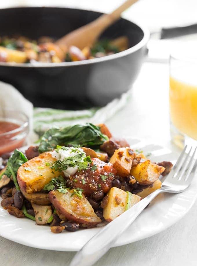Vegan Breakfast Hash with veggies and vegan sausage