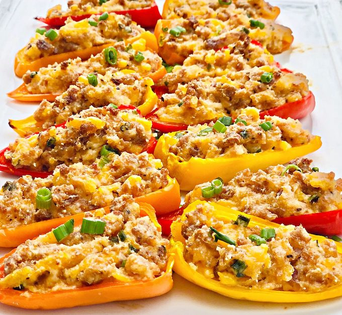 Vegan sausage and cheddar stuffed mini peppers