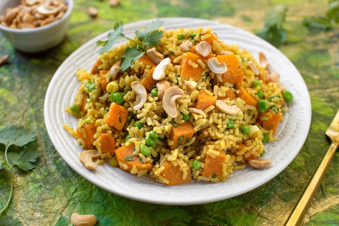 gingery brown rice pilaf with sweet potatoes and peas