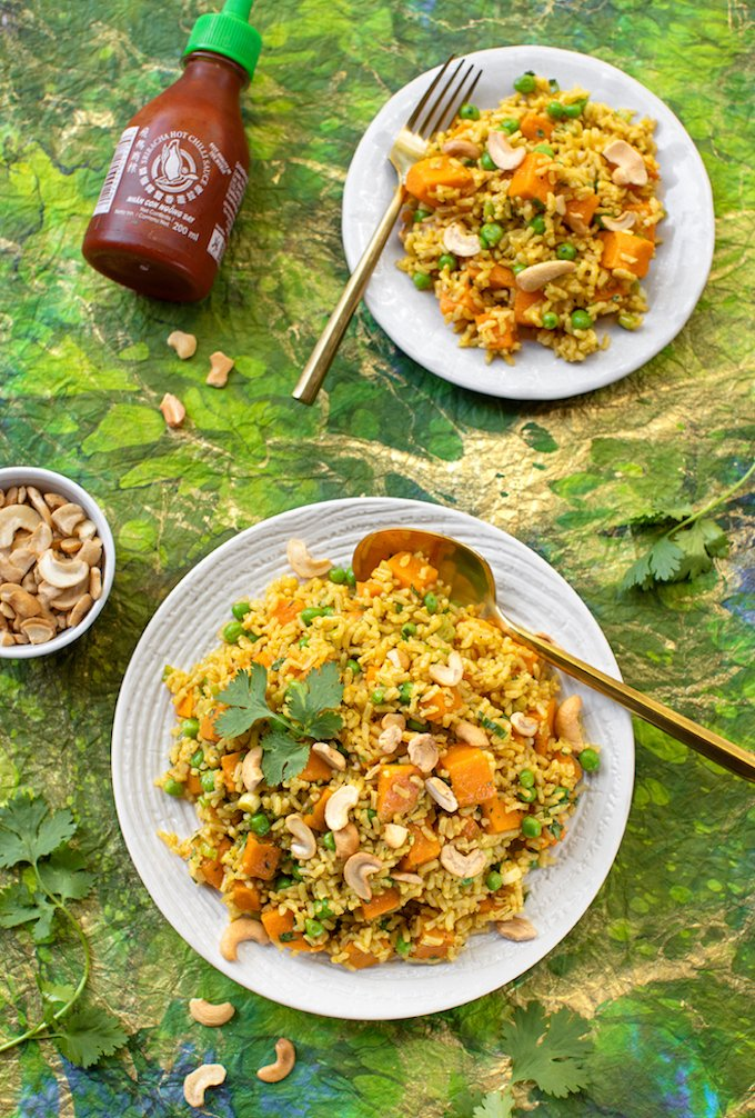 brown rice and sweet potato pilaf with peas and ginger