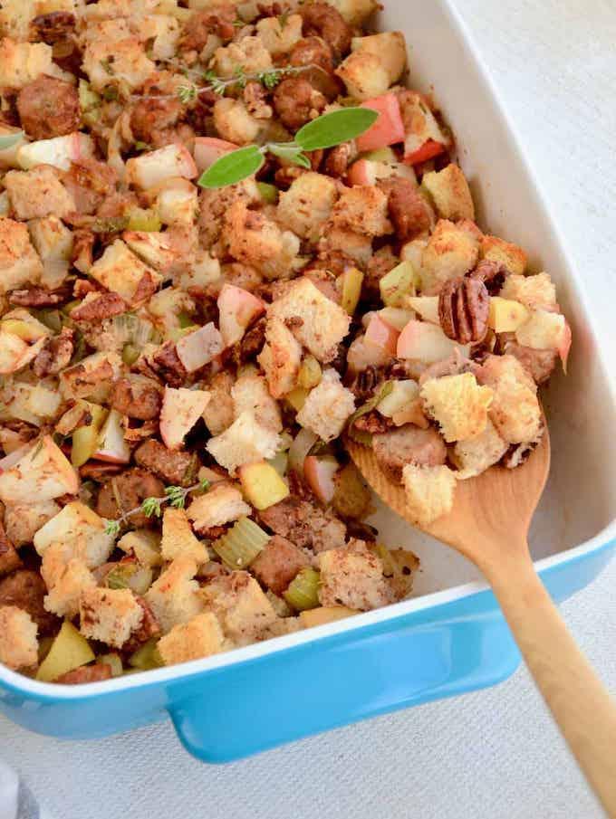 vegan sausage and apple stuffing