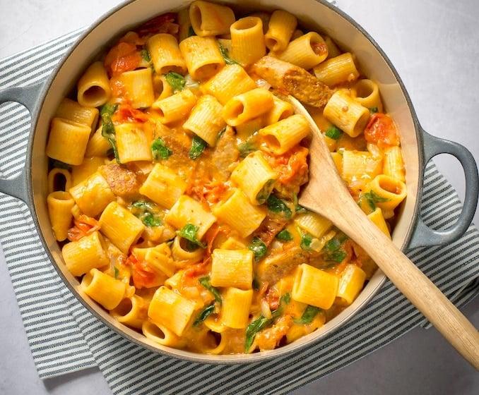 veggie sausage and tomato pasta