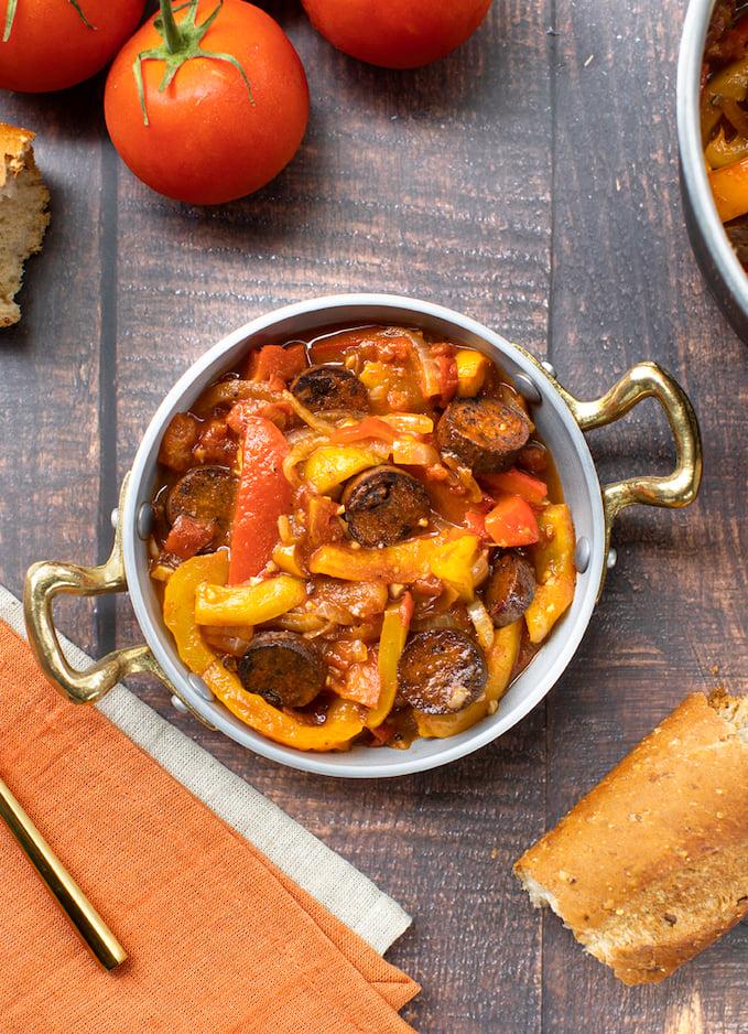 Hungarian Lecso with vegan sausage