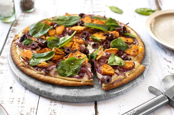 vegan Sweet potato pizza with black olives &onions
