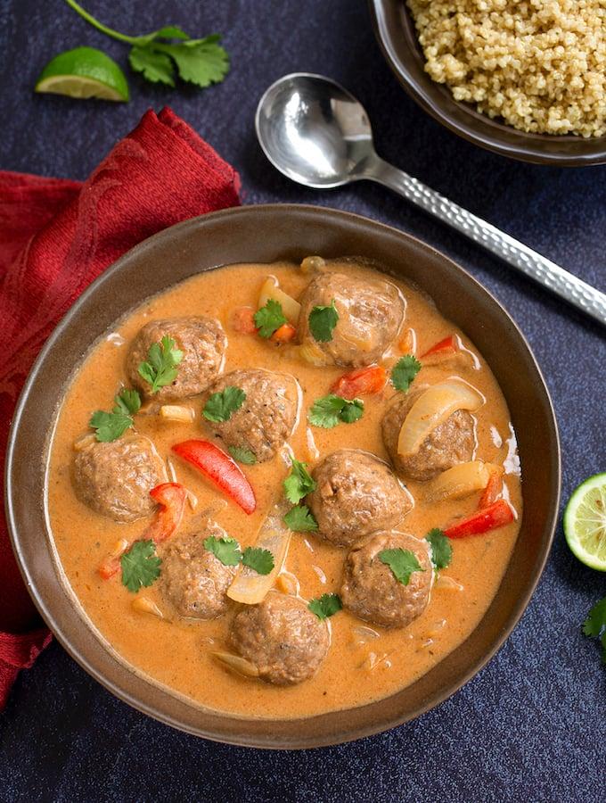 Vegan Thai Coconut Curry Meatballs